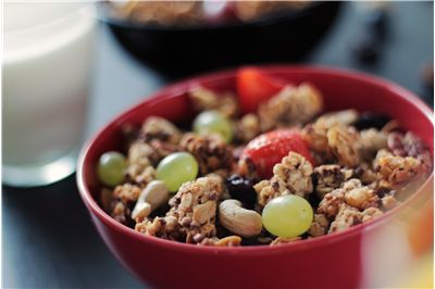 Picture Of Muesli With Cereal Nuts Cashews Grapes